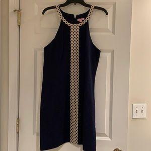Lily Pulitzer navy dress w/gold trim. Size 12.
